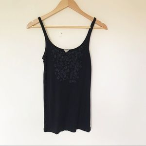 J. Crew | Navy Tank with flower detail